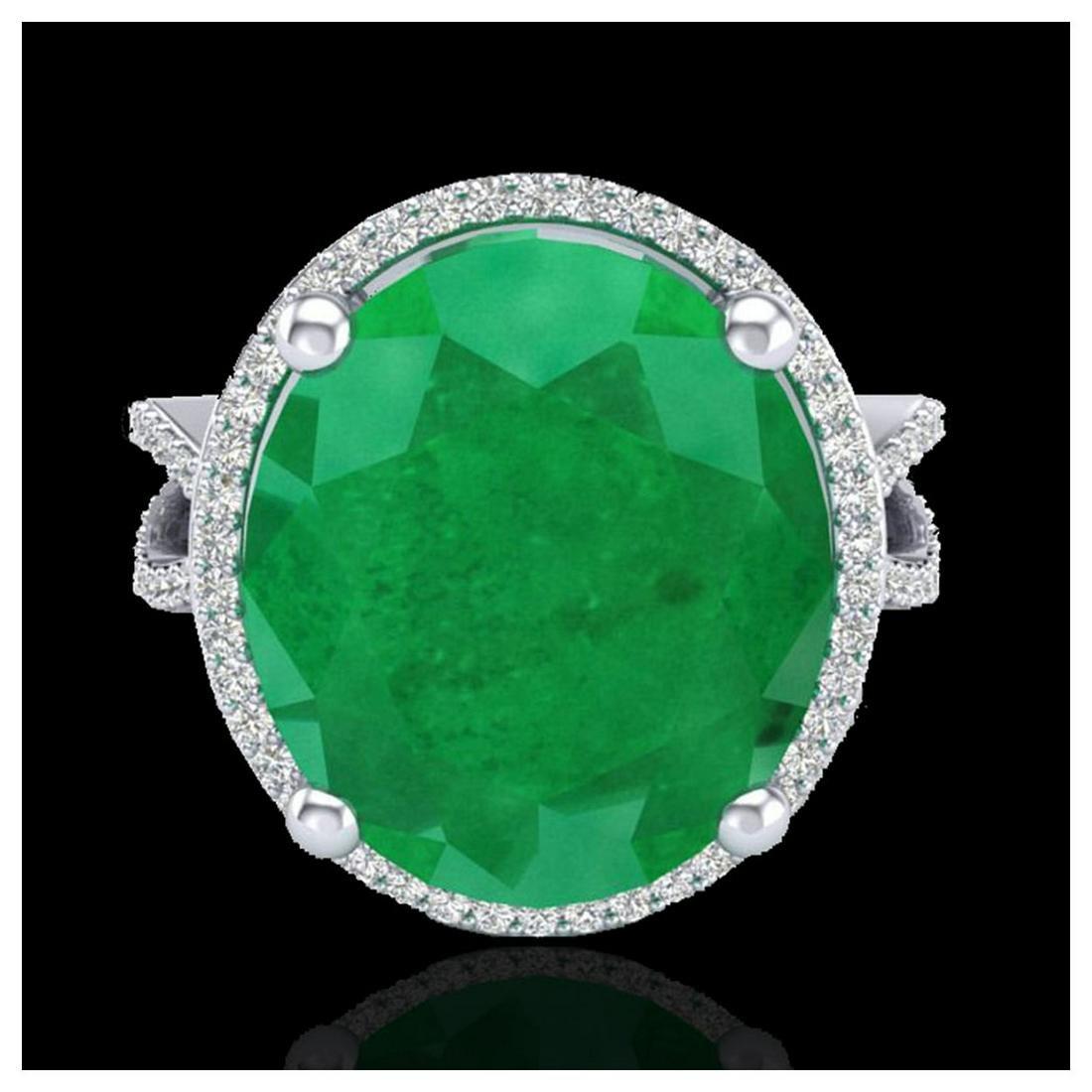12 ctw Emerald & VS/SI Diamond Ring 18K White Gold -