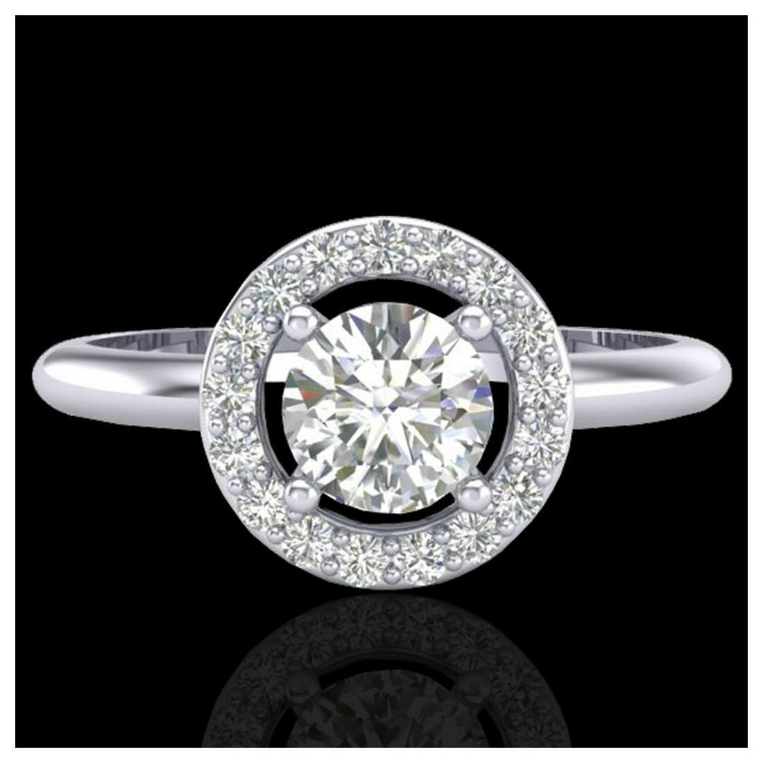 0.70 ctw Halo VS/SI Diamond Ring 18K White Gold -