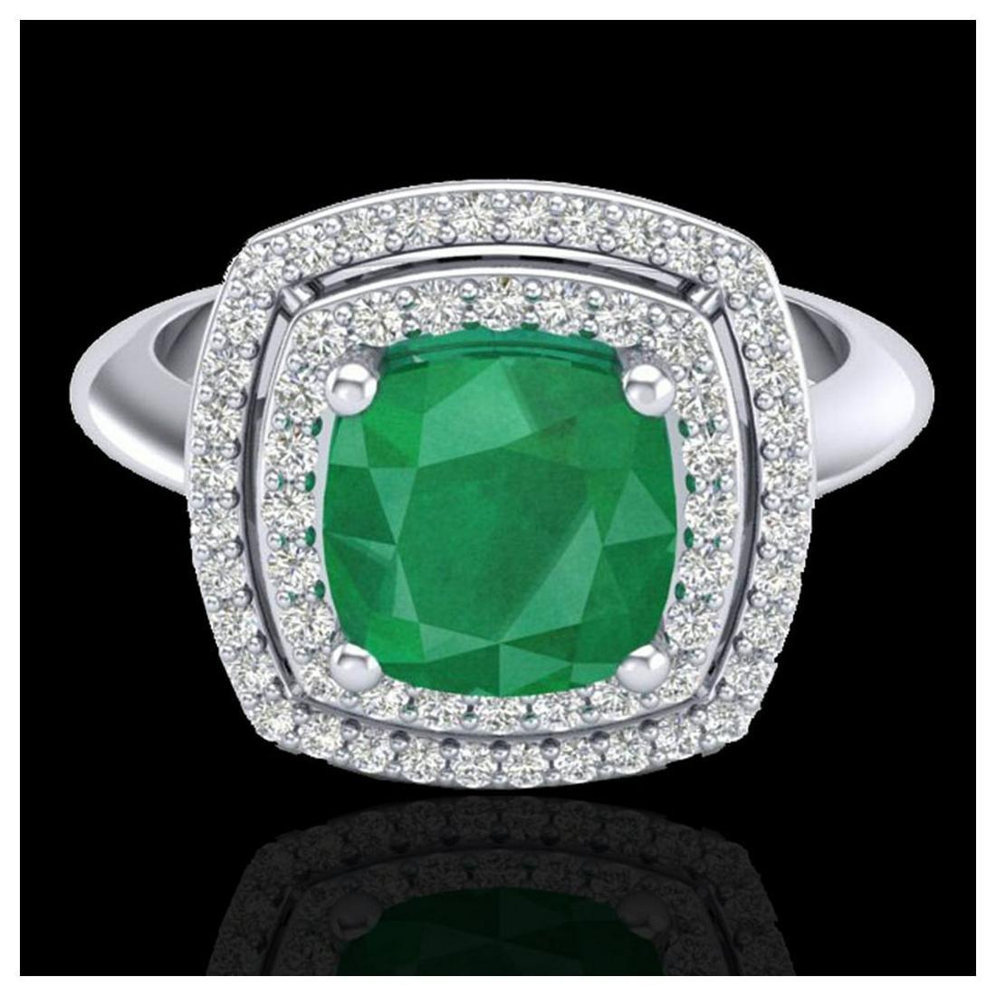 2.52 ctw Emerald & VS/SI Diamond Ring 18K White Gold -
