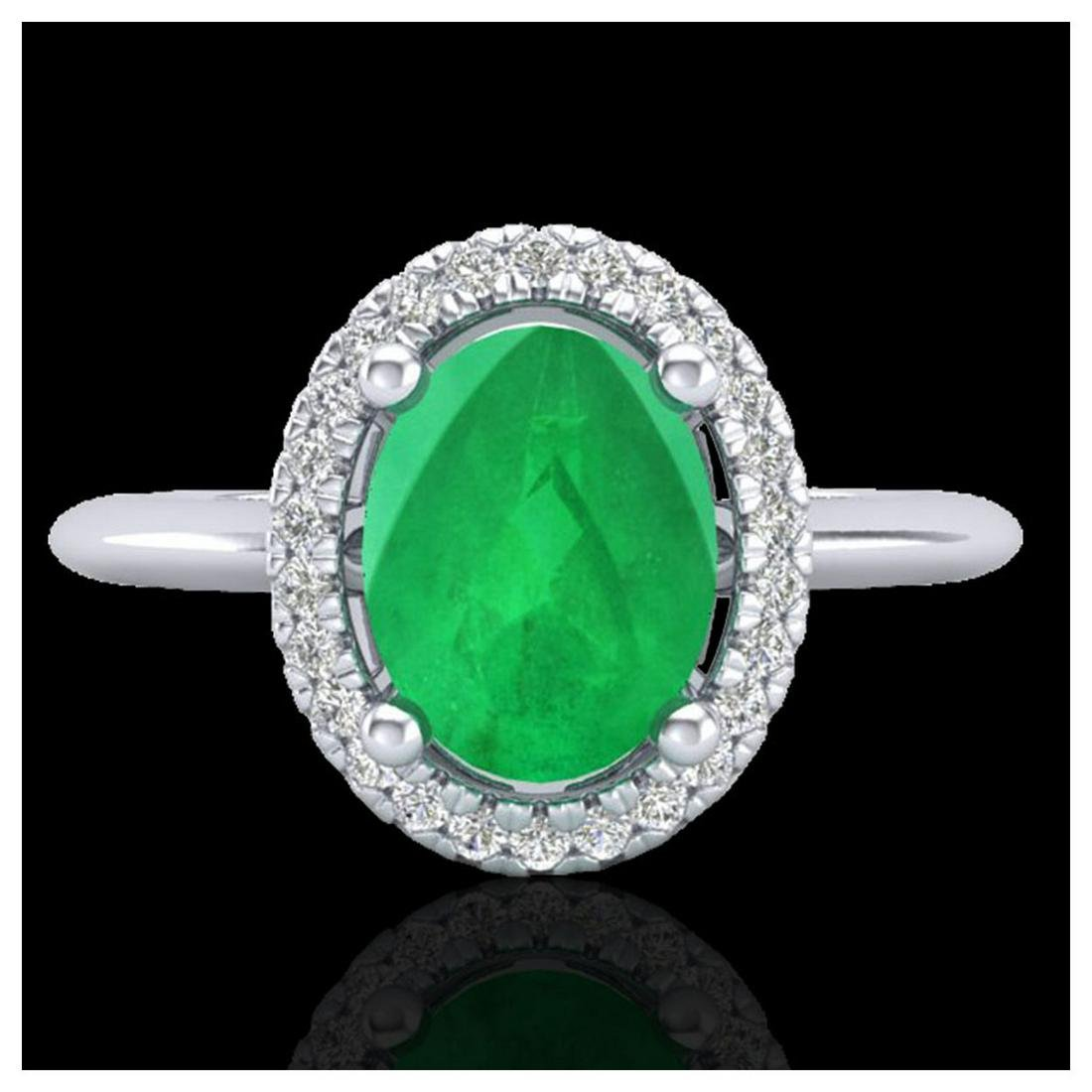 2 ctw Emerald & VS/SI Diamond Ring Halo 18K White Gold