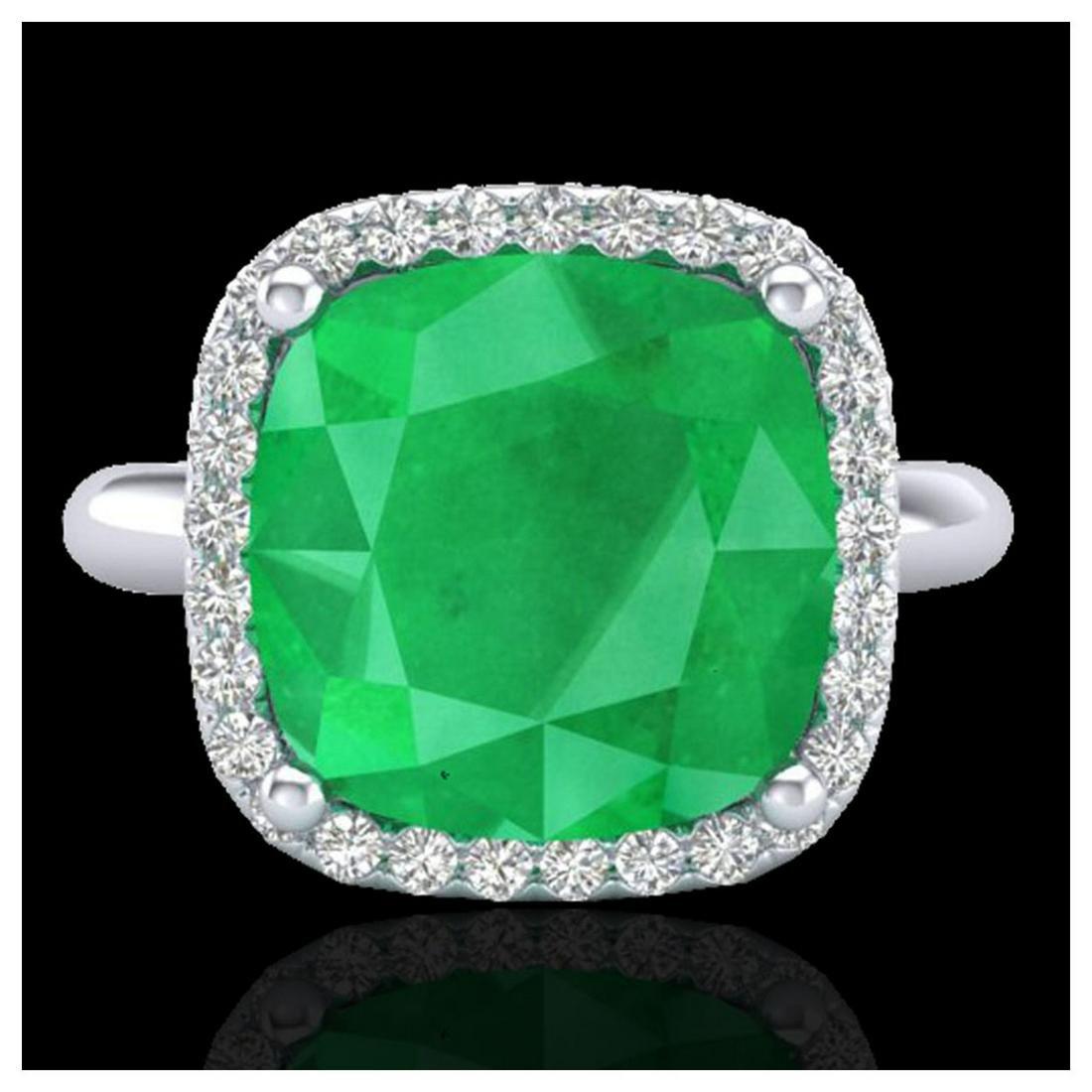6 ctw Emerald And Halo VS/SI Diamond Ring 18K White