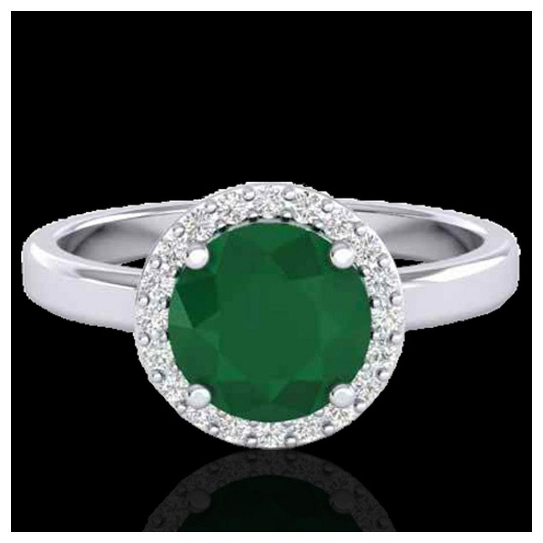 2 ctw Emerald & Halo VS/SI Diamond Ring 18K White Gold