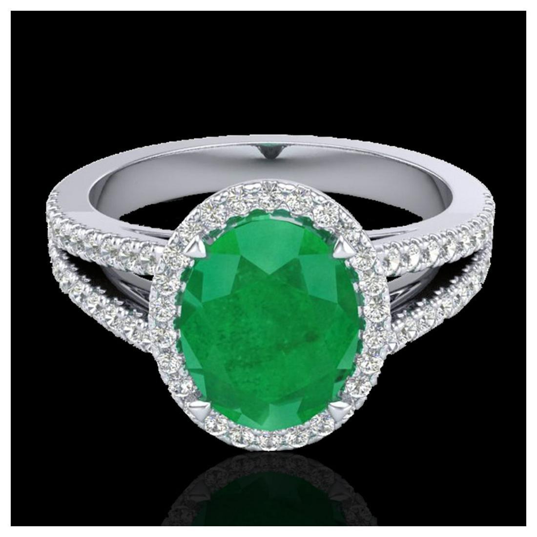 3 ctw Emerald & VS/SI Diamond Halo Solitaire Ring 18K