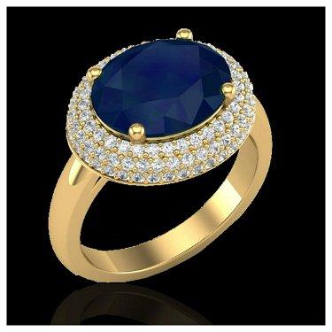 4.50 ctw Sapphire & VS/SI Diamond Ring 18K Yellow Gold
