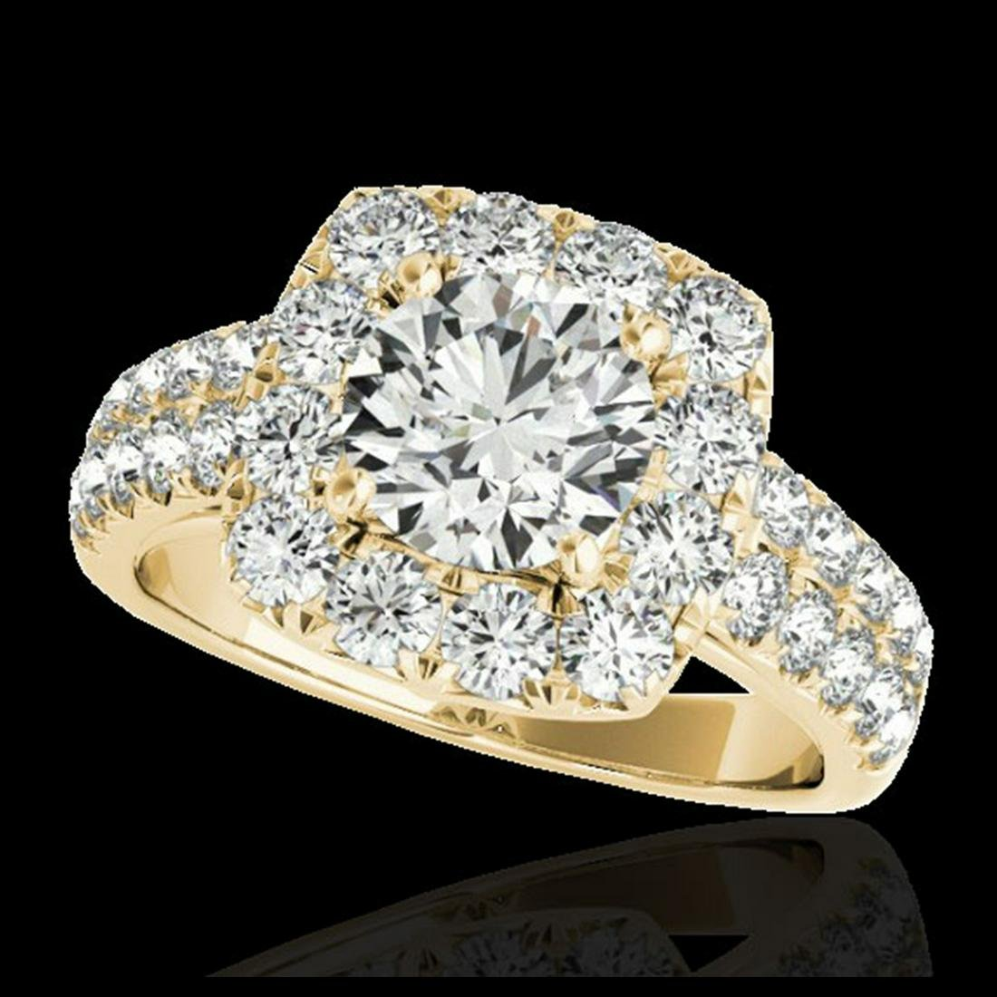 2.5 ctw H-SI/I Diamond Solitaire Halo Ring 10K Yellow