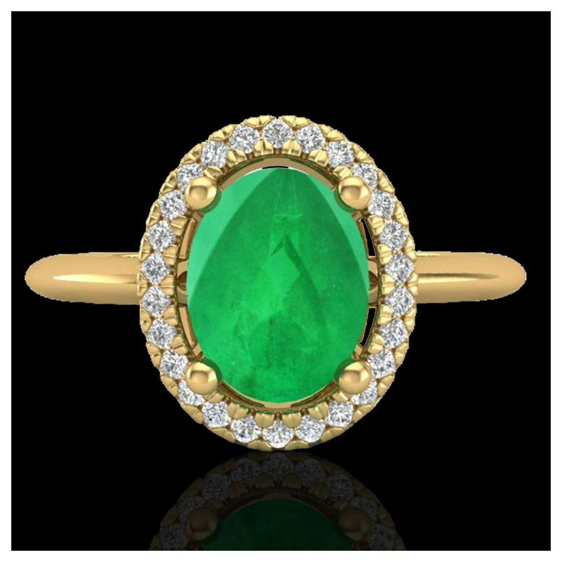 2 ctw Emerald & VS/SI Diamond Ring Halo 18K Yellow Gold