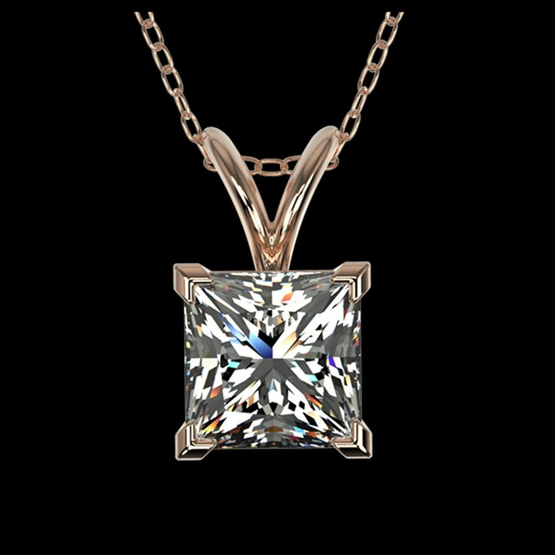 1 ctw VS/SI Princess Diamond Necklace 10K Rose Gold -