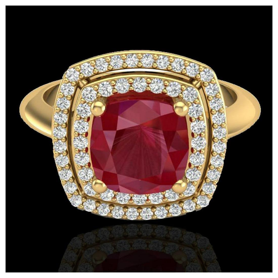 2.52 ctw Ruby & VS/SI Diamond Ring 18K Yellow Gold -