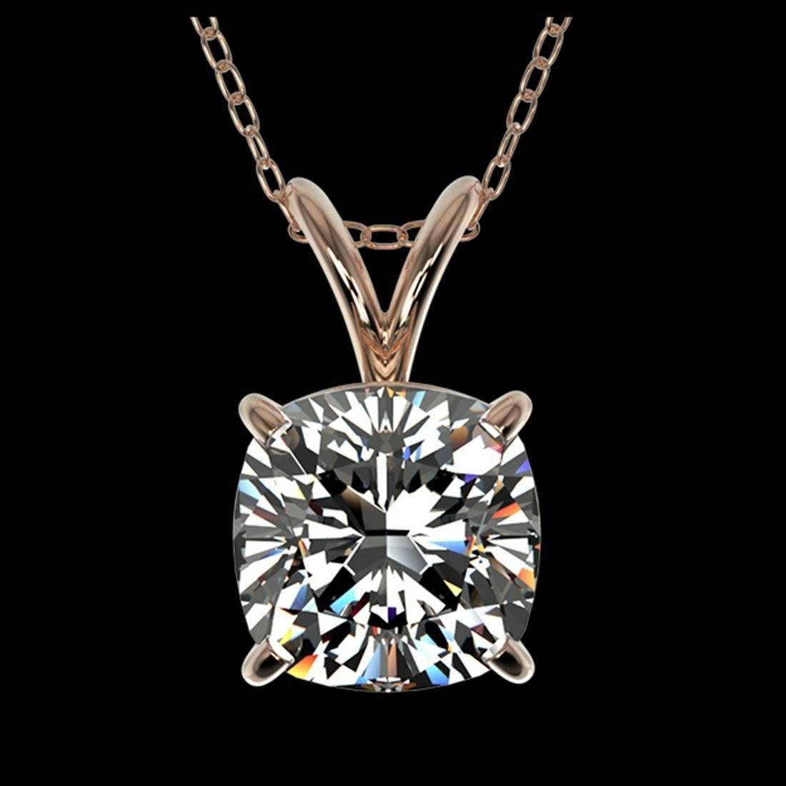 1.25 ctw VS/SI Cushion Diamond Necklace 10K Rose Gold -