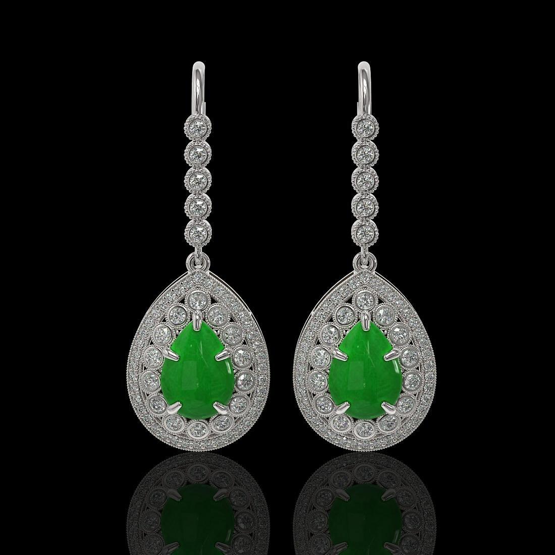 8.15 ctw Jade & Diamond Earrings 14K White Gold -