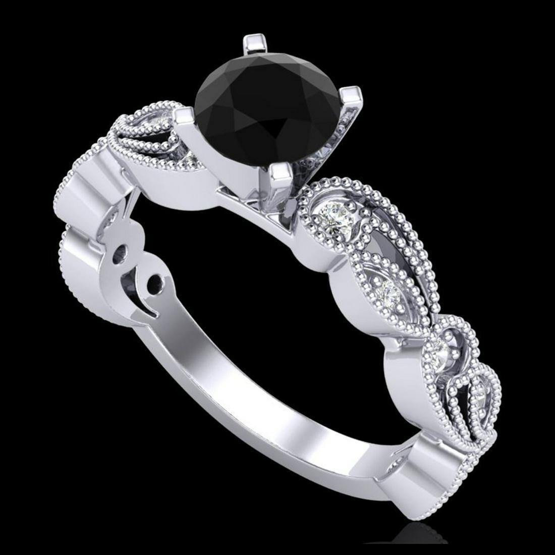 1.01 ctw Fancy Black Diamond Art Deco Ring 18K White