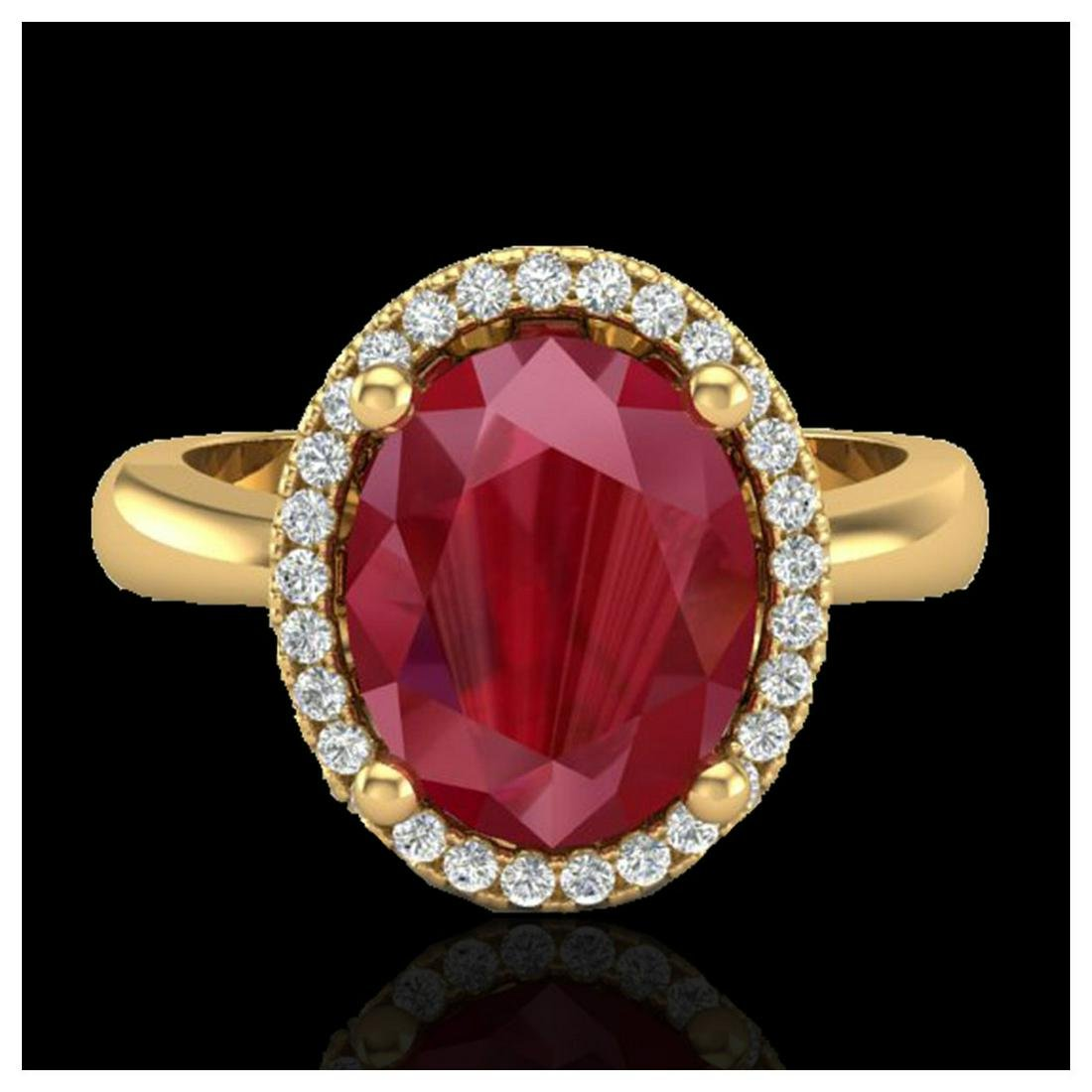 3 ctw Ruby And VS/SI Diamond Ring 18K Yellow Gold -