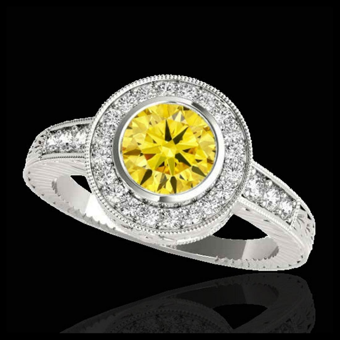 2 ctw SI/I Fancy Intense Yellow Diamond Halo Ring 10K