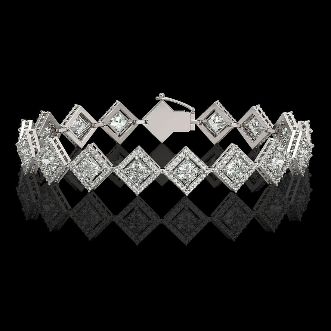 11.7 ctw Princess Diamond Bracelet 18K White Gold -