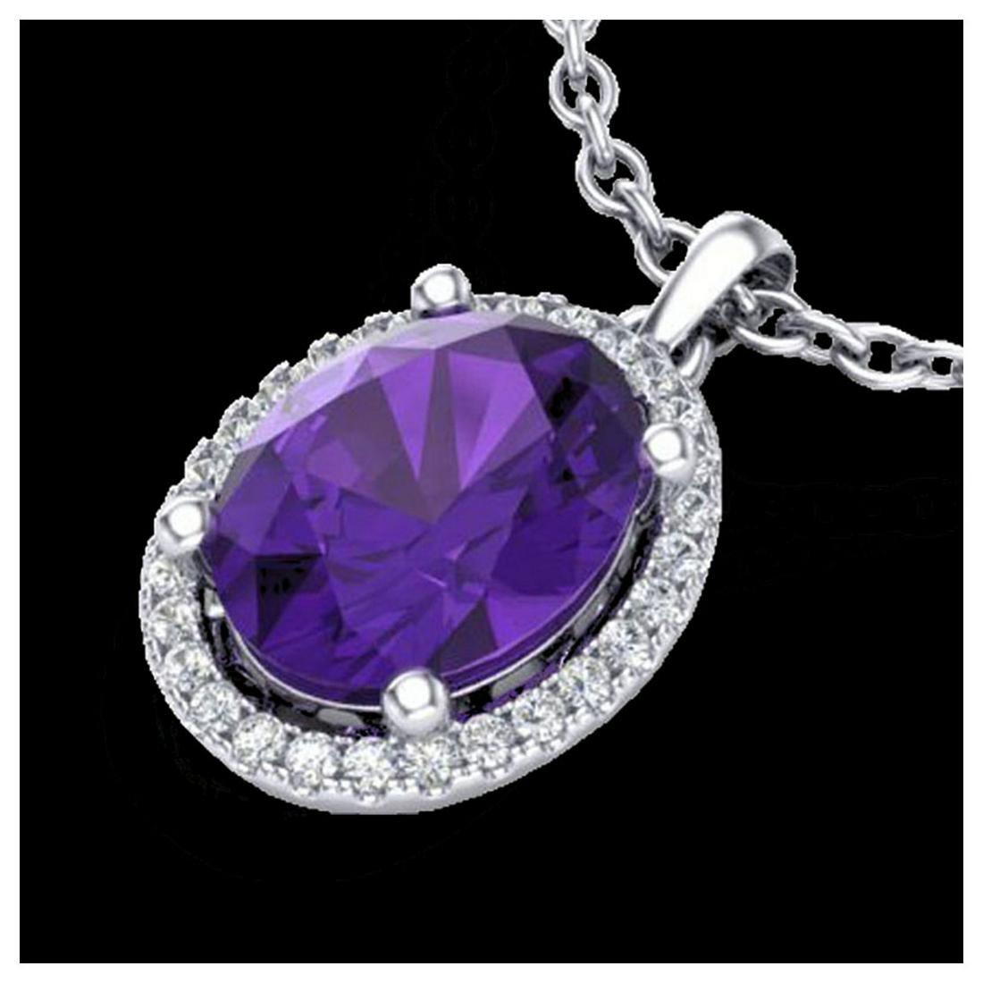 2.50 ctw Amethyst & VS/SI Diamond Necklace 18K White