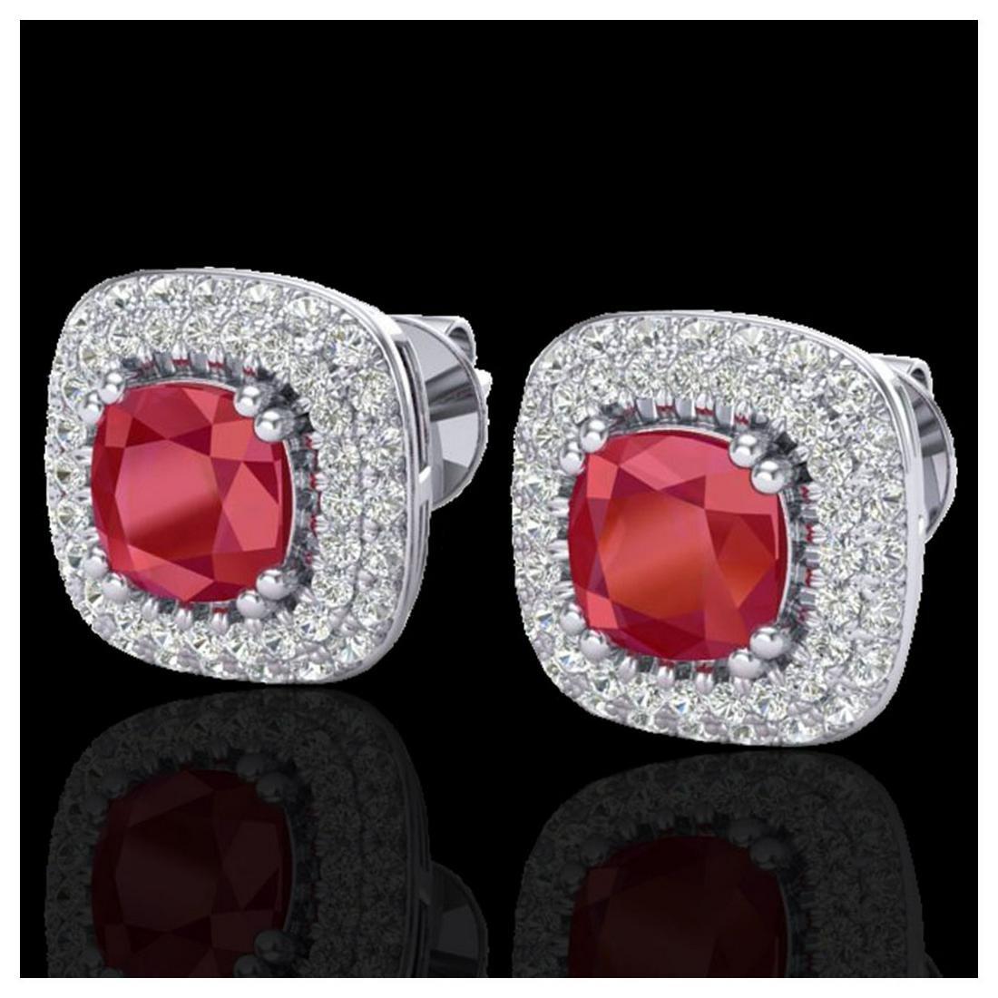2.16 ctw Ruby & VS/SI Diamond Earrings Halo 18K White