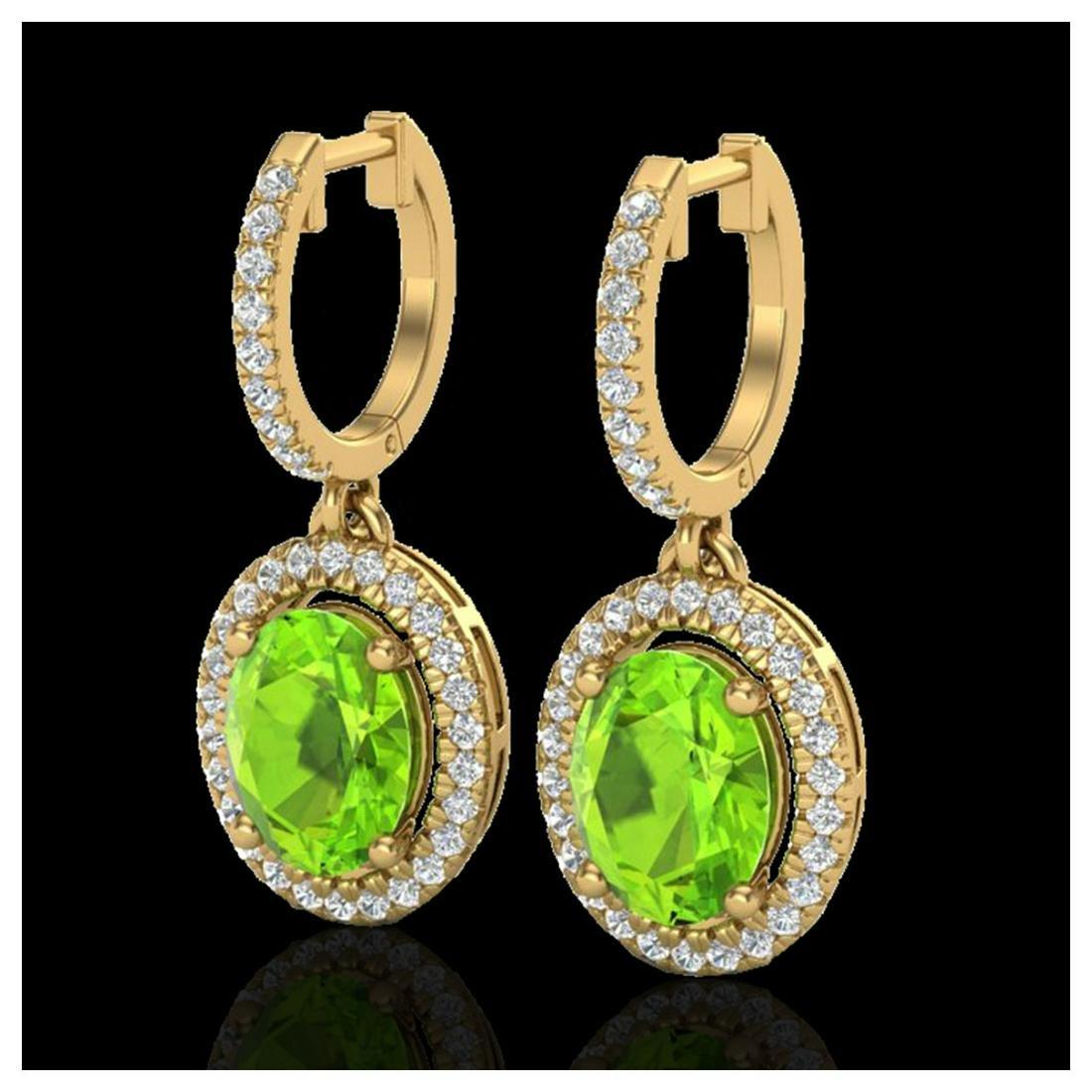 3.75 ctw Peridot & VS/SI Diamond Earrings 18K Yellow