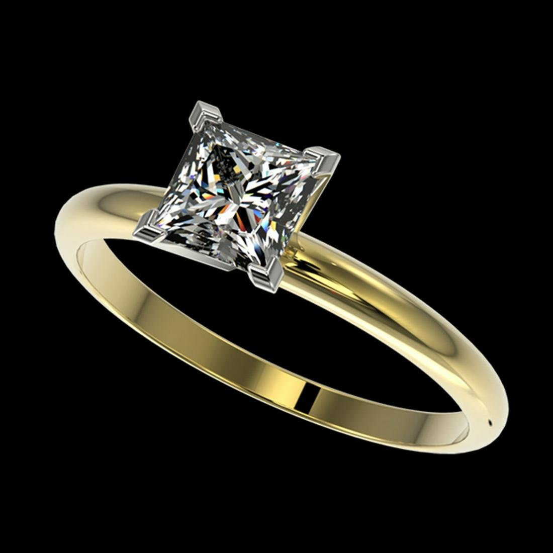 1 ctw VS/SI Princess Diamond Ring 10K Yellow Gold -