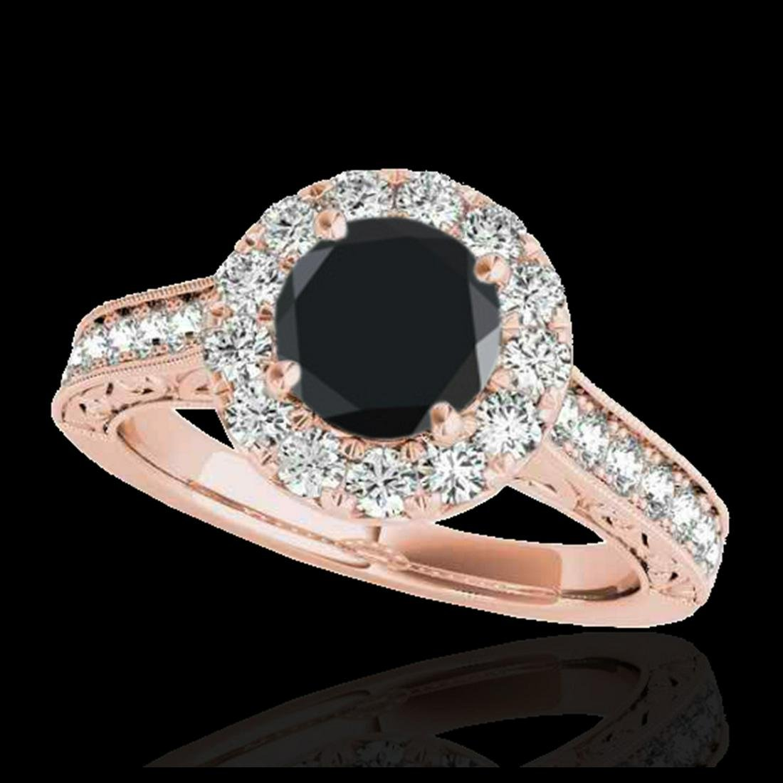 1.70 ctw VS Black Diamond Solitaire Halo Ring 10K Rose