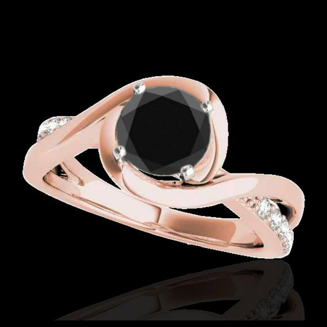 1.15 ctw VS Black Diamond Solitaire Ring 10K Rose Gold