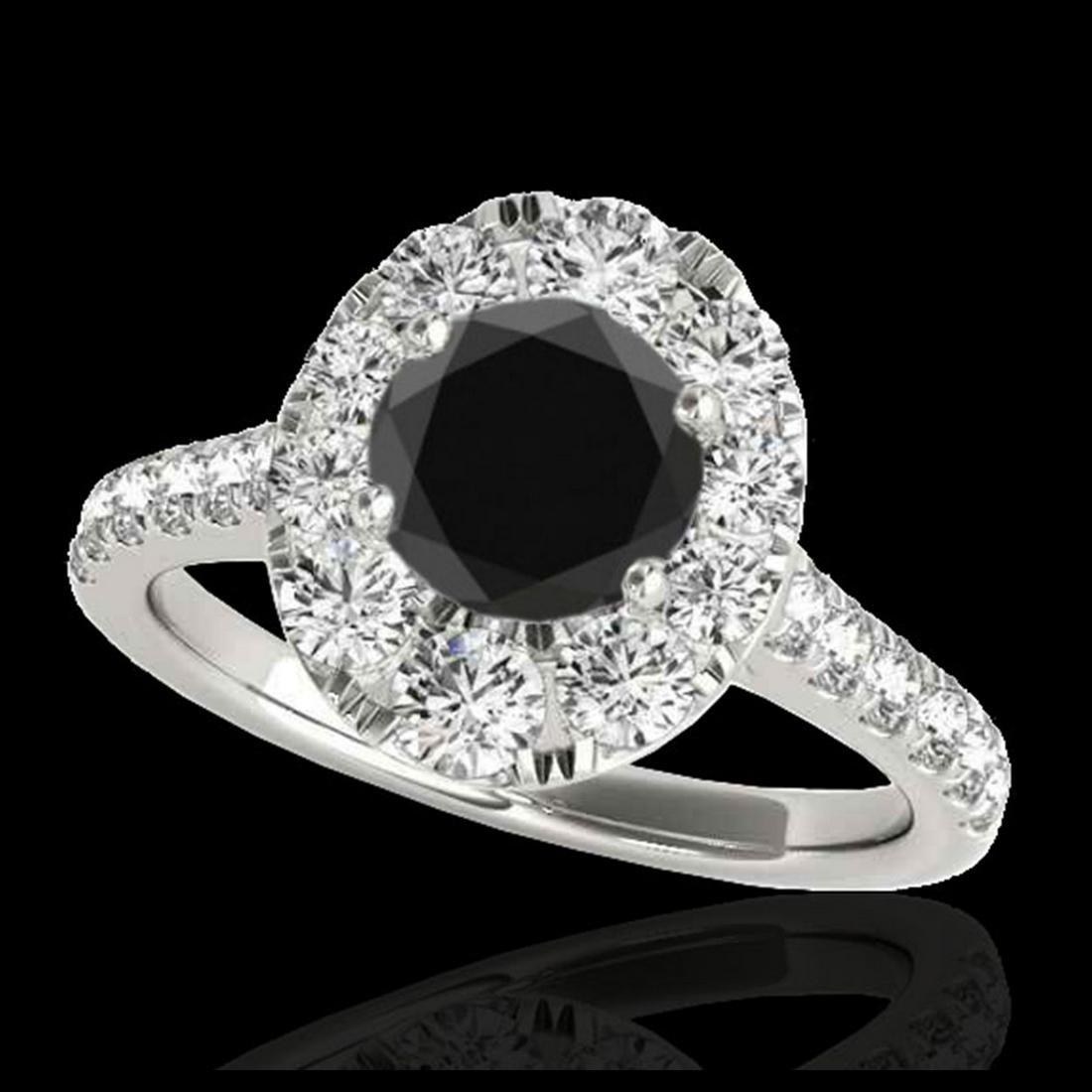 2 ctw VS Black Diamond Solitaire Halo Ring 10K White