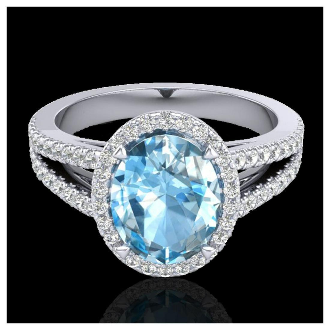 3 Sky Blue Topaz & VS/SI Diamond Halo Ring 18K White