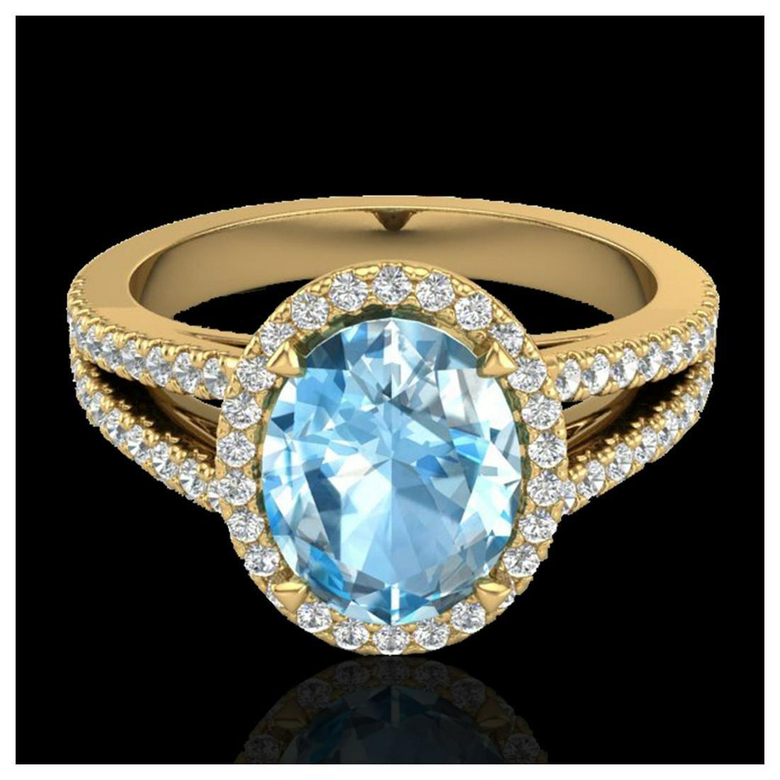 3 Sky Blue Topaz & VS/SI Diamond Halo Ring 18K Yellow