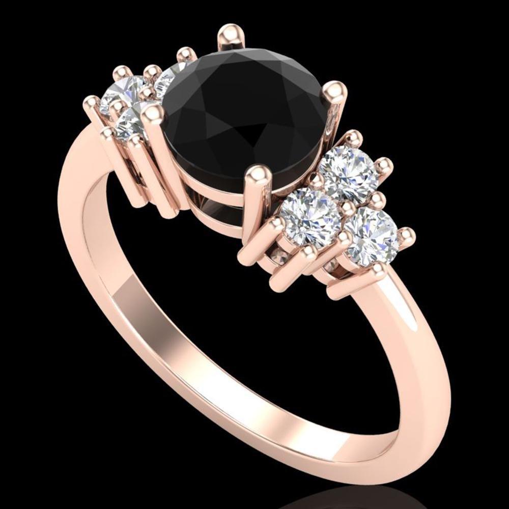 1.5 ctw Fancy Black Diamond Engagment Ring 18k Rose