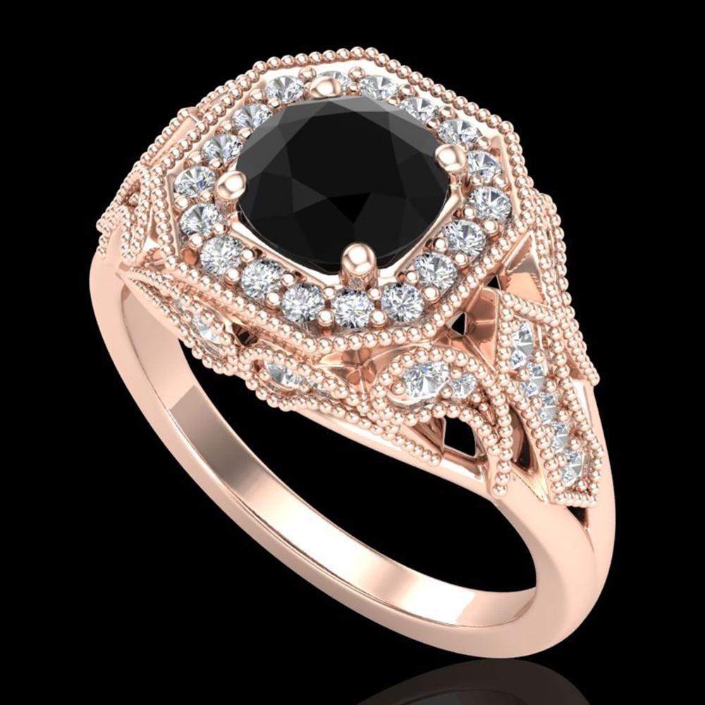 1.75 ctw Fancy Black Diamond Engagment Art Deco Ring