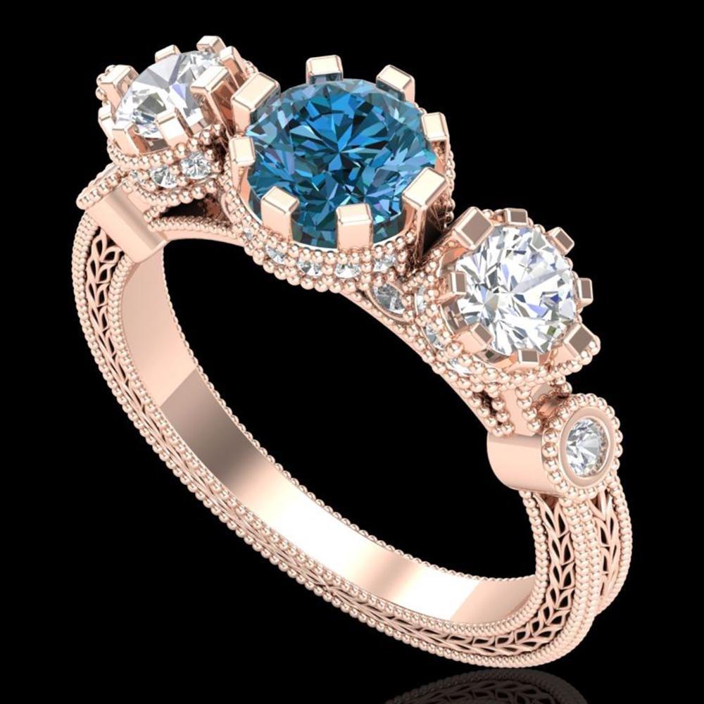 1.75 ctw Intense Blue Diamond Art Deco 3 Stone Ring 18k