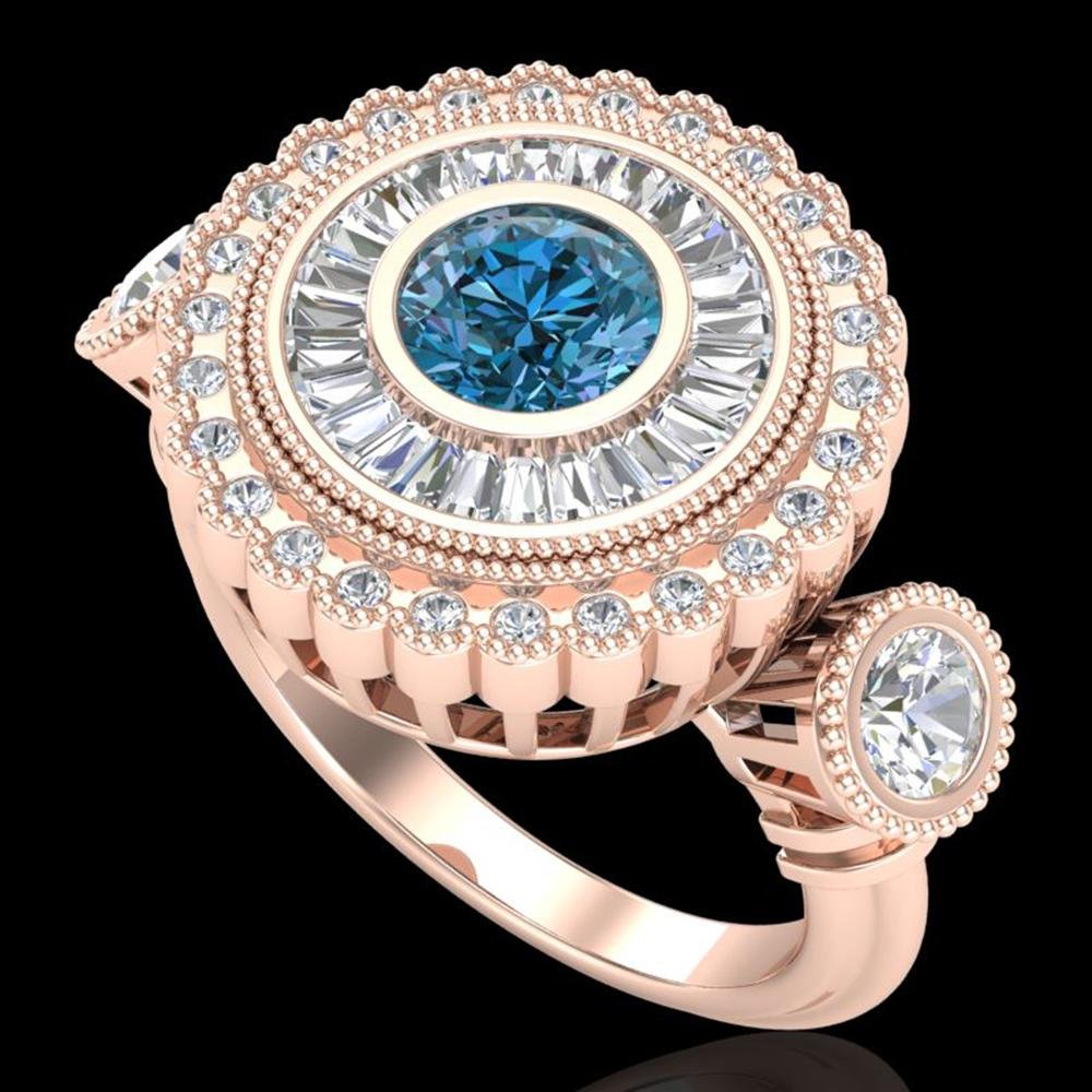 2.62 ctw Intense Blue Diamond Art Deco 3 Stone Ring 18k