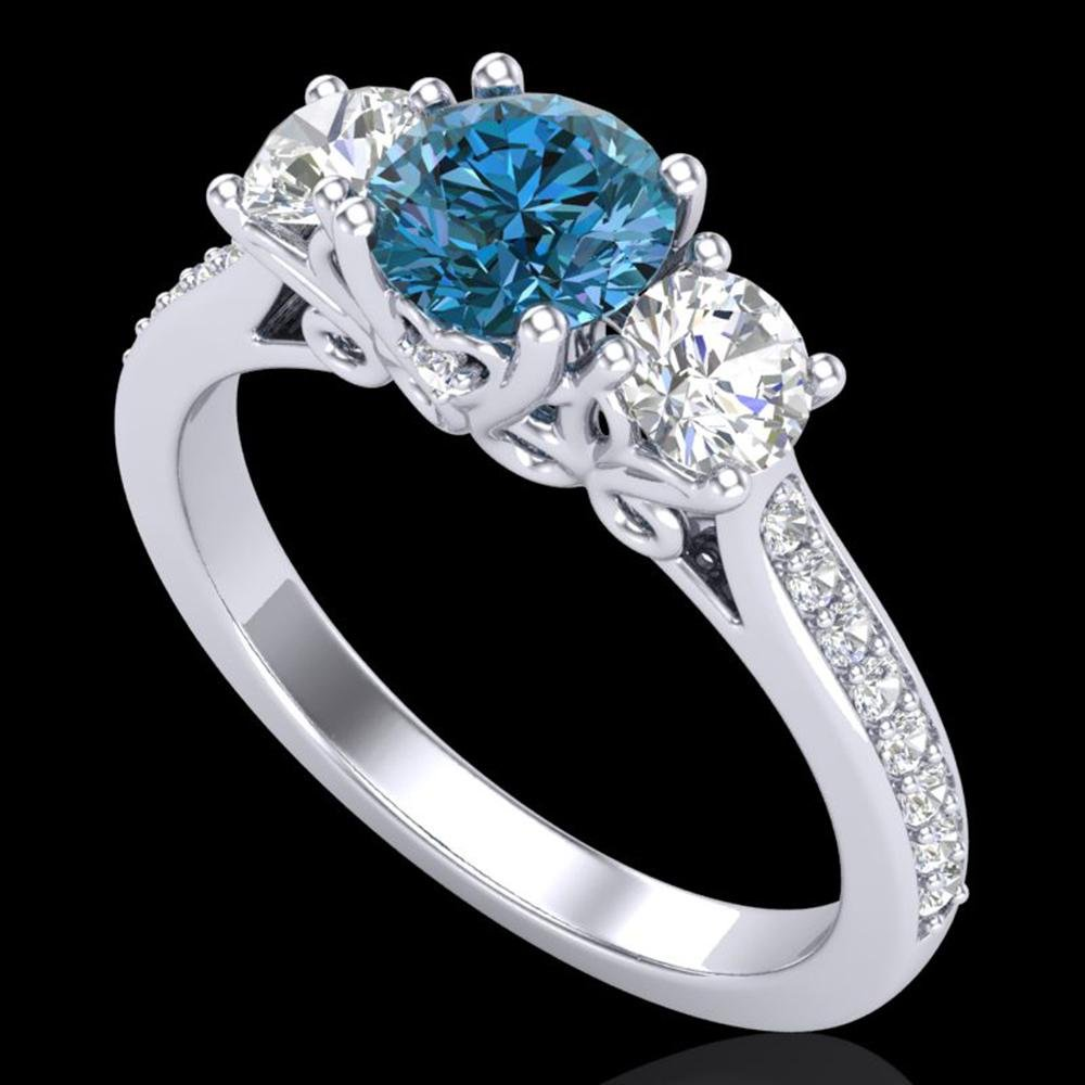 1.67 ctw Intense Blue Diamond Art Deco 3 Stone Ring 18k