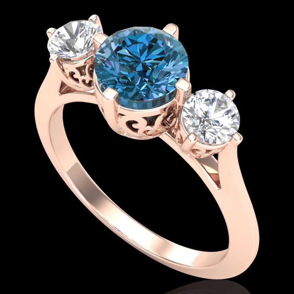 1.51 ctw Intense Blue Diamond Art Deco 3 Stone Ring 18k