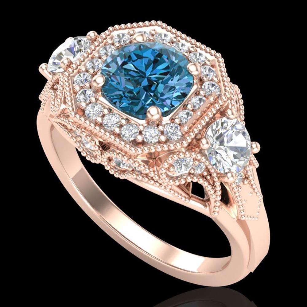 2.11 ctw Intense Blue Diamond Art Deco 3 Stone Ring 18k