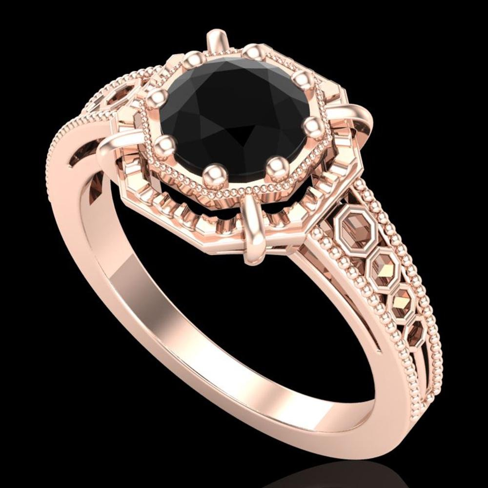 1 ctw Fancy Black Diamond Engagment Art Deco Ring 18k
