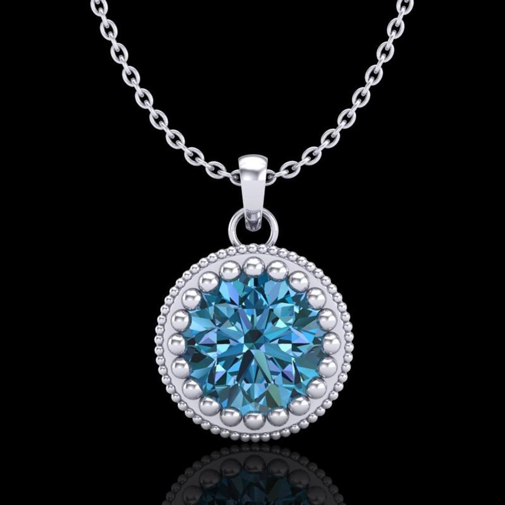 1 ctw Intense Blue Diamond Art Deco Stud Necklace 18k
