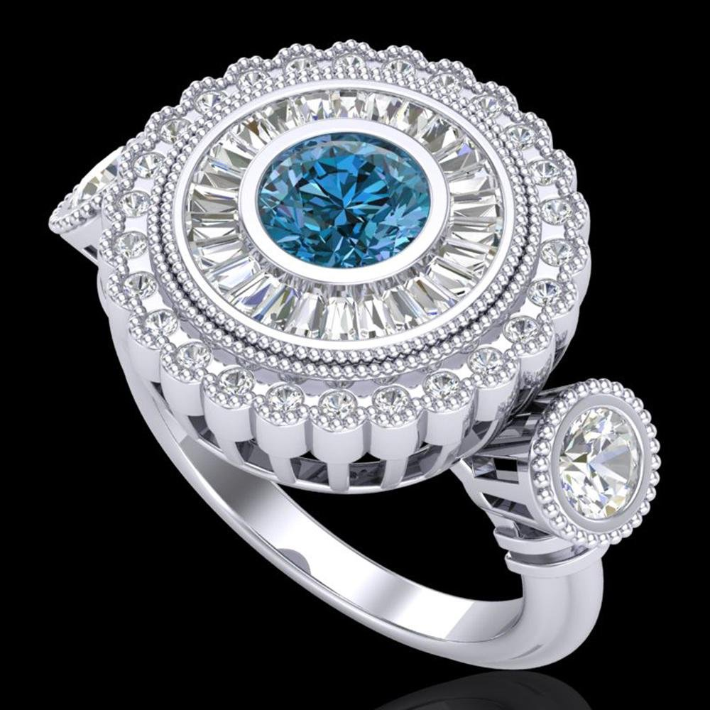 2.62 ctw Intense Blue Diamond Art Deco 3 Stone Ring 18k