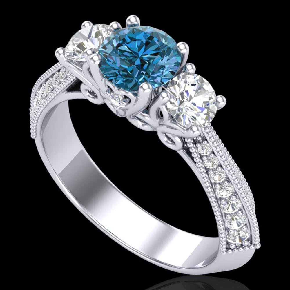 1.81 ctw Intense Blue Diamond Art Deco 3 Stone Ring 18k