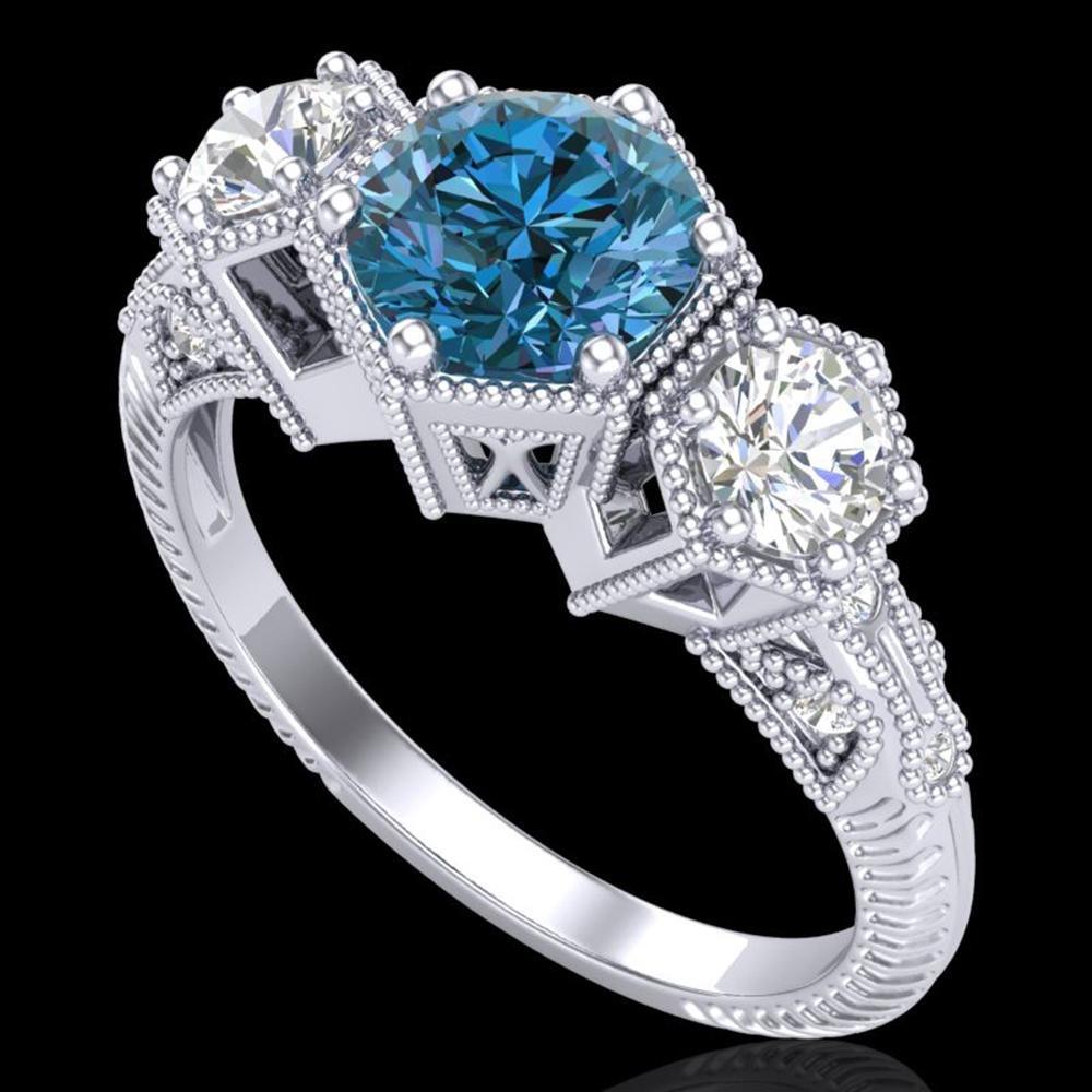 1.66 ctw Intense Blue Diamond Art Deco 3 Stone Ring 18k
