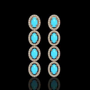 4.84 ctw Turquoise & Diamond Micro Pave Halo Earrings