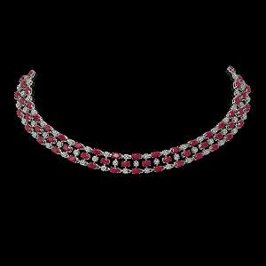 43.07 ctw Ruby & Diamond Necklace 10K White Gold -