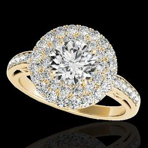 2.25 ctw Certified Diamond Solitaire Halo Ring 10k