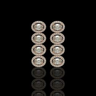 5.33 ctw Oval Cut Diamond Micro Pave Earrings 18K Rose
