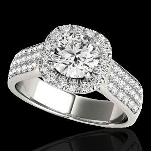 1.8 ctw Certified Diamond Solitaire Halo Ring 10k White