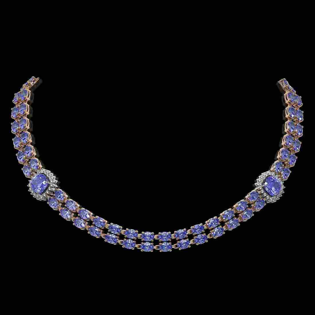 37.96 ctw Tanzanite & Diamond Necklace 14K Rose Gold -