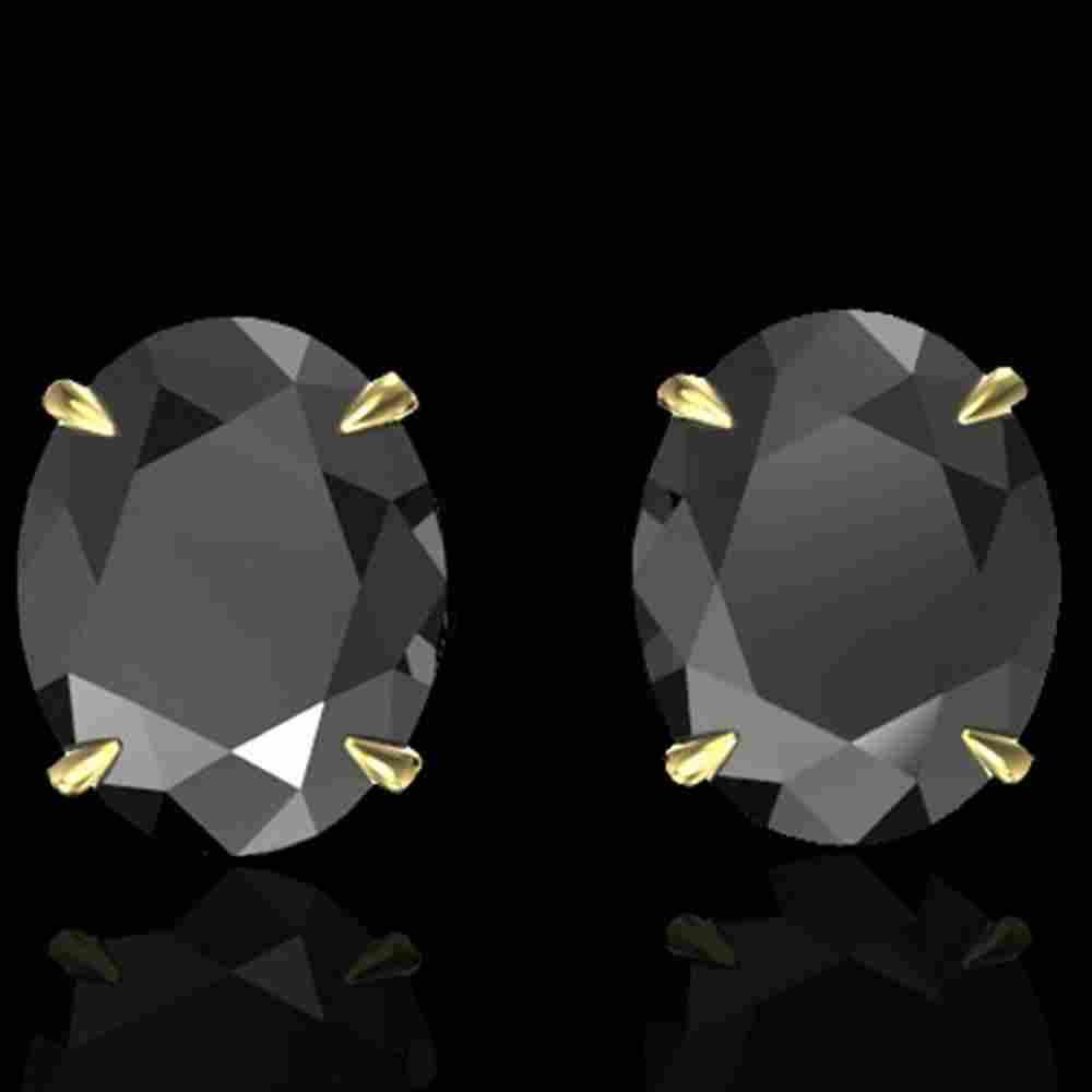 10 ctw Black Diamond Designer Stud Earrings 18k Yellow