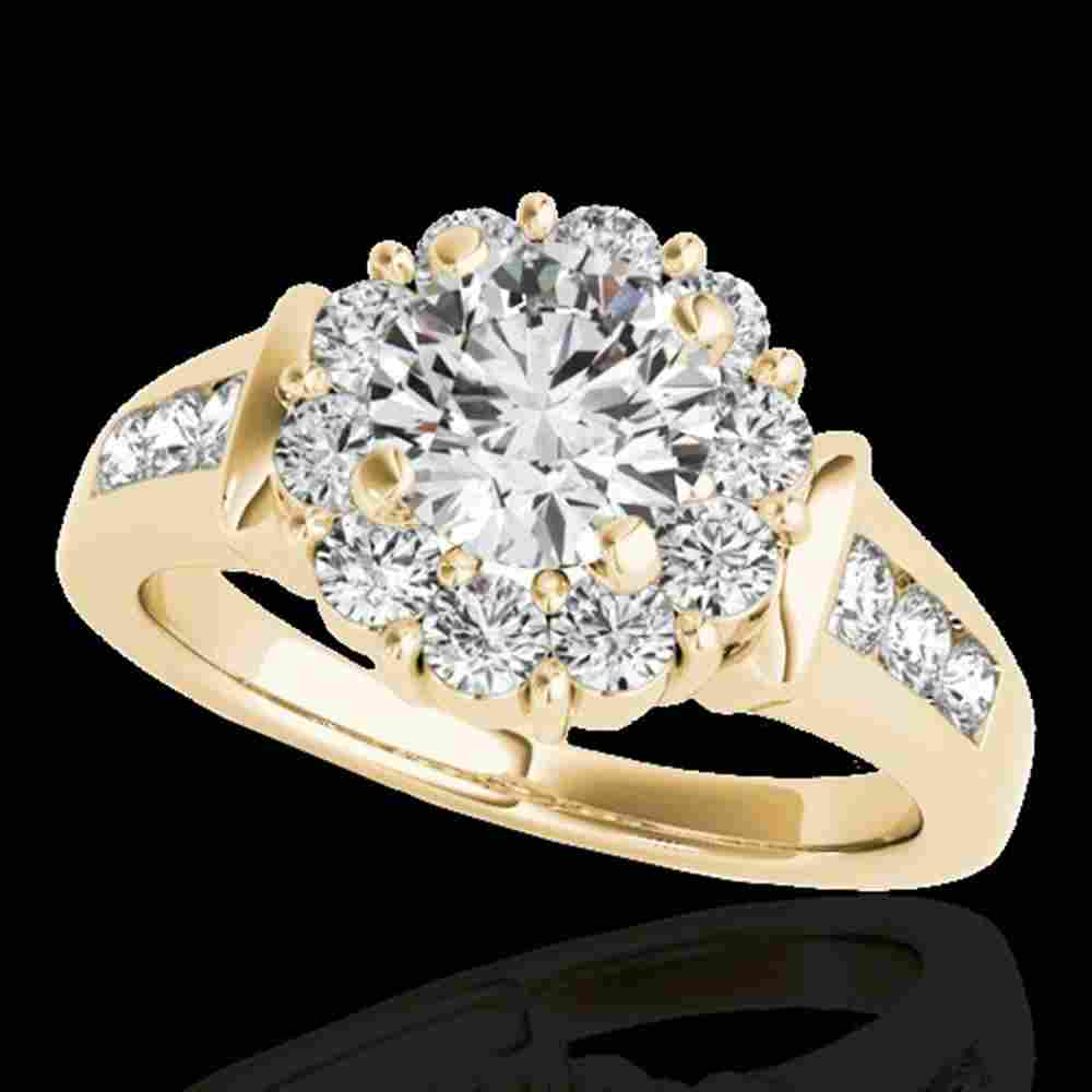 1.9 ctw Certified Diamond Solitaire Halo Ring 10k