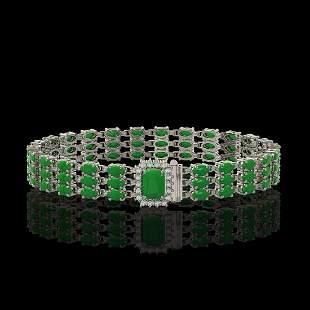 18.41 ctw Jade & Diamond Bracelet 14K White Gold -