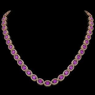 29.38 ctw Amethyst & Diamond Micro Pave Halo Necklace
