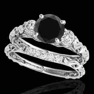 1.35 ctw Certified VS Black Diamond 3 Stone Set Ring